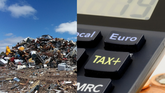 calculator working out the waste landfill tax