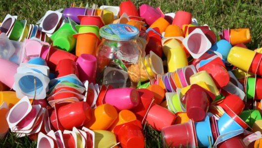 coloured yogurt cups being discarded for Zero Waste Week