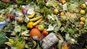 Mixed food waste piled up