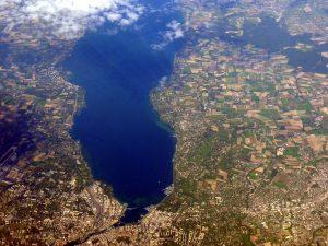 Overhead view of lake geneva
