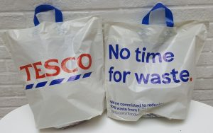 Two Tesco plastic bags back and front