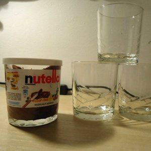 Nutella jar used for drinking glasses