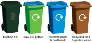Balck green blue and brown waste bins