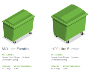 2 types of large commercial wheelie bins