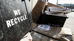 Business waste recycling cardboard in black bin