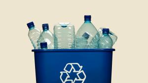 Blue office waste recycling bin