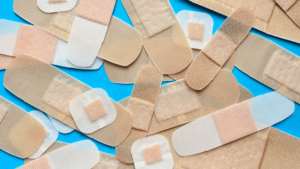 plasters piled up