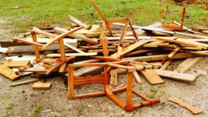 Broken chairs outside