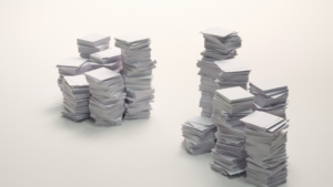 Piled up white paper