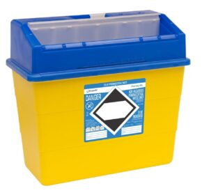 Blue lid sharps container
