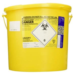 Yellow lid sharps bin