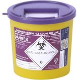 Purple lid clinical waste container